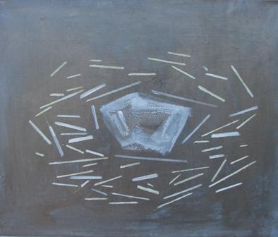 Fără titlu (acrilic şi vopsea metalică pe pânză, 50x60 cm, 2011)