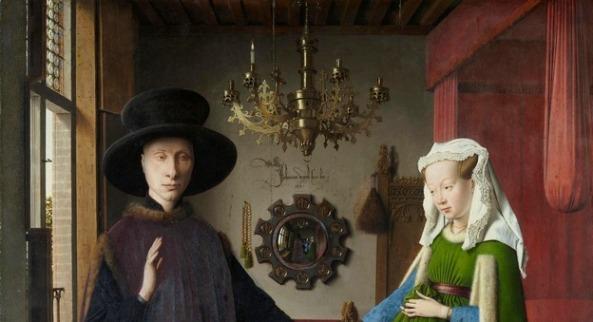 Van Eyck - portretul soţilor Arnolfini - detaliu (sursa Wikipedia)