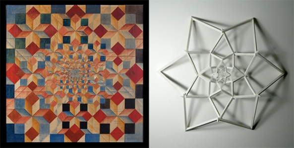 Octaedru (1978, ulei pe pânză, 89x89cm) / Hexagonul copertină (2012, lemn, 110x130x25cm)