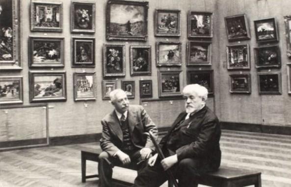 Ion Cantacuzino și pictorul Gheorghe Petrașcu în expoziția de la Fundația Dalles
