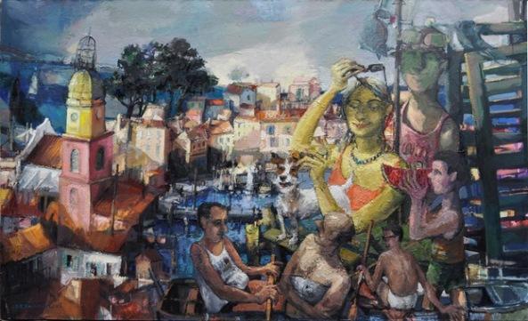 Mariusz Drohomirecki | Saint-Tropez - scenă figurativă (2013-2014, ulei/pânză,120x200cm)