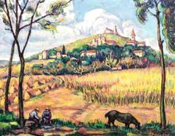 Nicolae Dărăscu -  Vedere a satului Grimaud