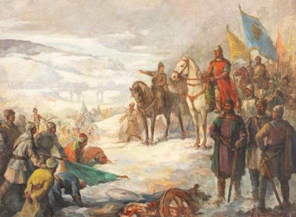 Honoriu Crețulesc - Ștefan cel Mare în bătălia de la Podu Înalt (1475)