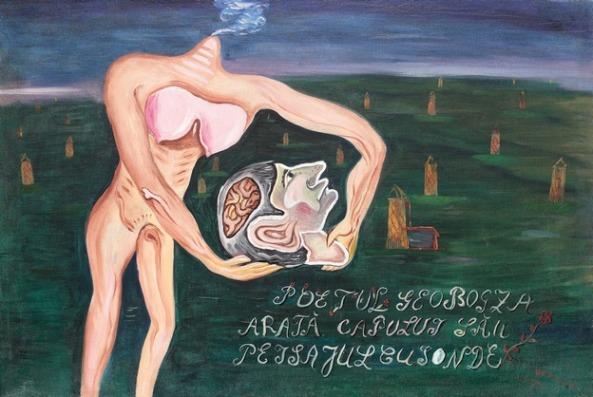 Victor Brauner - Poetul Geo Bogza arată capului său peisaj cu sonde