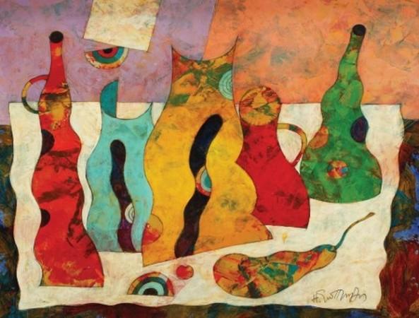 Harry Guttman - Natură statică cu vase și fructe