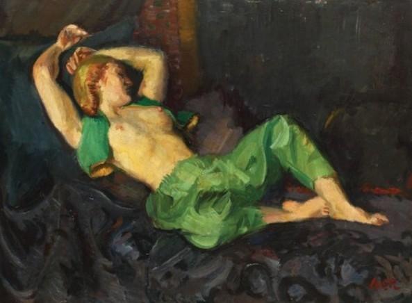 Iosif Iser - Odaliscă cu șalvari verzi