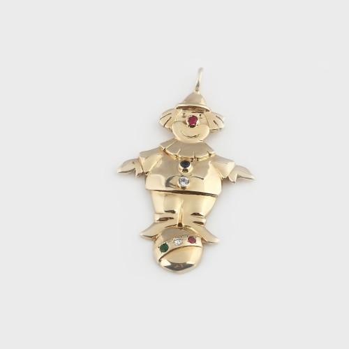Pandantiv din aur, în form¦ de clown, decorat cu safir, smarald, rubine și diamante