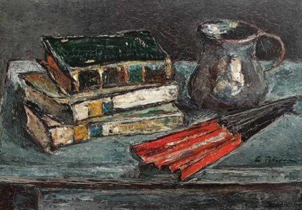 Gheorghe Petrașcu- Natură statică cu cărți și evantai roșu
