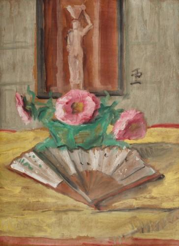 Theodor Pallady - Natură statică cu flori, evantai și cariatidă