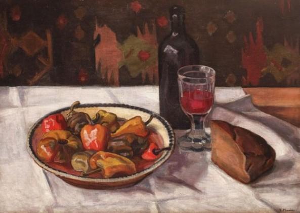 Rodica Maniu Mutzner - Natura statică cu sticlă de vin, pâine și ardei copți