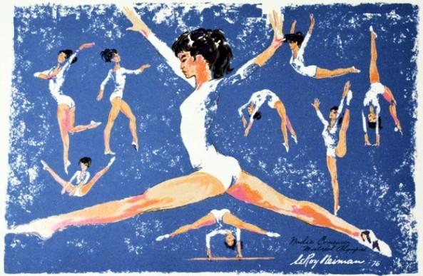 LeRoy Neiman - Nadia Comăneci at the Montreal Olympics 1976