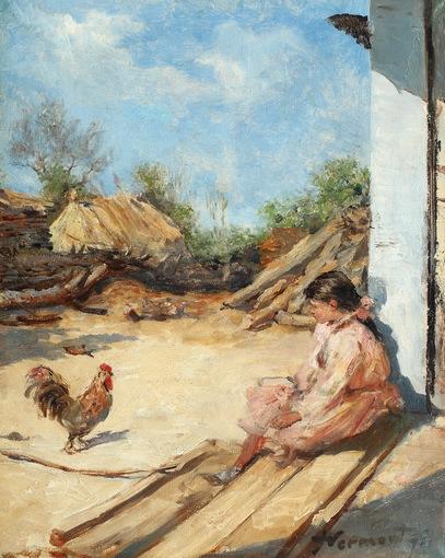 Nicolae Vermont - Fetița cu cocoșul